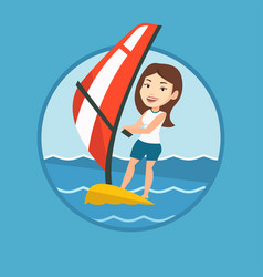 young woman windsurfing in the sea vector image