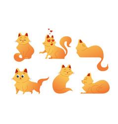 Kitty cat - modern set of flat vector