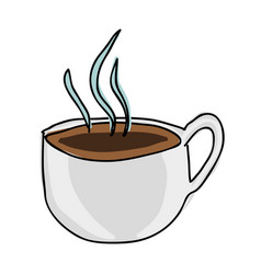 Silhouette color hand drawn of hot coffee cup side vector