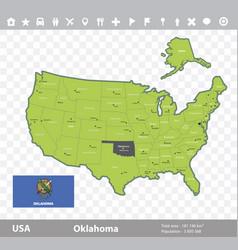 Oklahoma flag and map vector