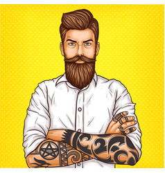 Pop art of a brutal bearded vector