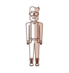 Shadow vintage body man cartoon vector