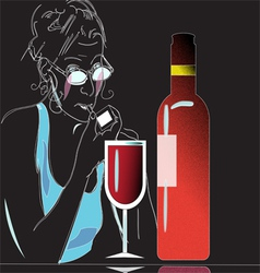 Wine and glass vector