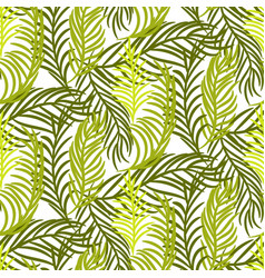 Green palm leaves seamless background vector