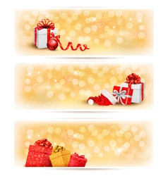 Set of holiday christmas banners with gift boxes vector image