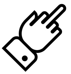 Hand showing middle finger outline icon vector