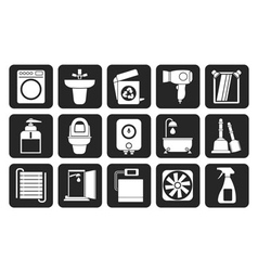 Silhouette bathroom and toilet objects and icons vector