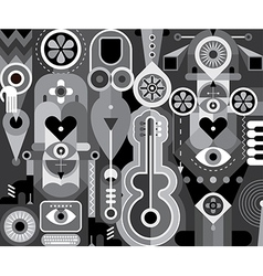 grayscale abstract composition vector image