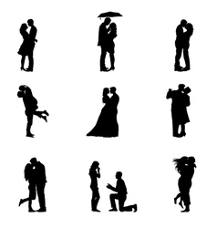 Black silhouette couples in love vector