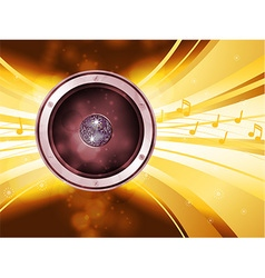 Golden disco light explosion with speaker vector