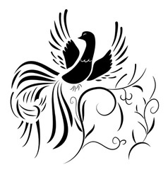 Silhouette of fantasy bird with abstract plants vector