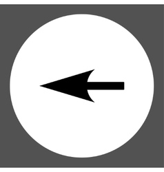 Sharp left arrow flat black and white colors round vector