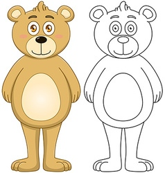 Cute Brown Teddy Bear With Lineart vector image