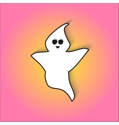 Cute ghost scares in for halloween vector