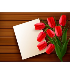 Red tulip card vector