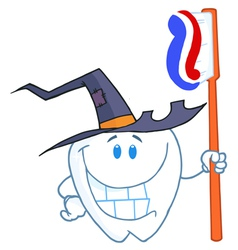 Happy smiling halloween tooth with toothbrush vector