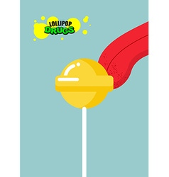 Drugs lollipop acid candy on a stick narcotic vector