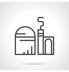Grain elevator black line icon vector