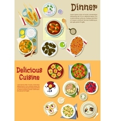 European dishes for weekend menu flat icon vector