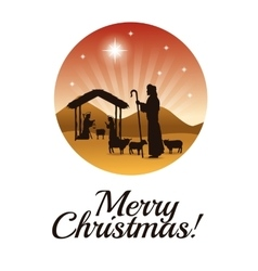 Joseph maria and jesus icon merry christmas vector