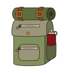 Camping backpack sleeping icon vector