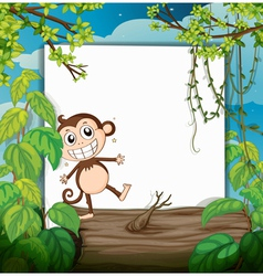 A monkey and a white board vector image vector image