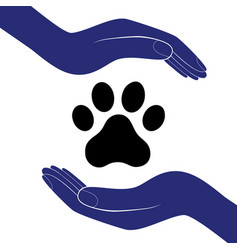 Animal dog paw in people hand human help vector