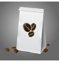 Blank white realistic paper packaging coffee bag vector