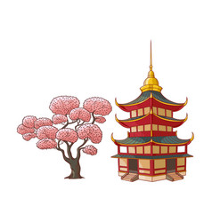 Blooming sakura branch pagoda set vector
