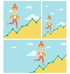 Business woman running upstairs vector
