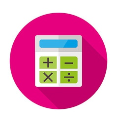 Calculator flat circle icon with shadow vector