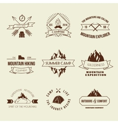 Camping labels set vector image