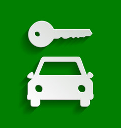 Car key simplistic sign paper whitish vector