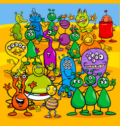 cartoon aliens fantasy characters group vector image vector image