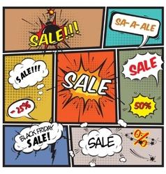 Comic best offer sale promotion bubbles vector