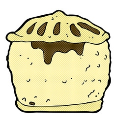 Comic cartoon meat pie vector