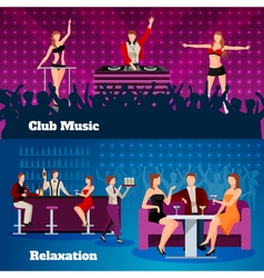 Dance Club 2 Flat Banners Set vector image