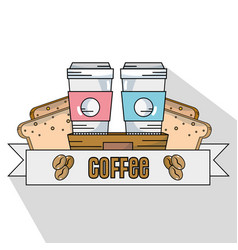 Delicious coffee plastic cup and breads slice vector