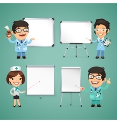 Doctors with whiteboard set vector