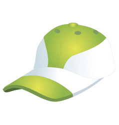 Fashionable sports baseball cap green with white vector