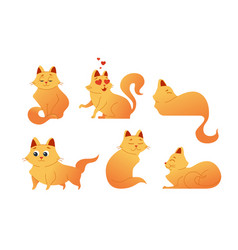Kitty cat - modern set of flat vector