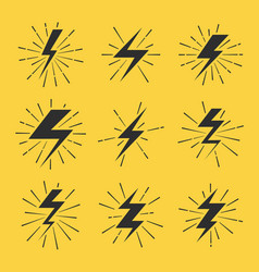 lightning bolts icons set vector image