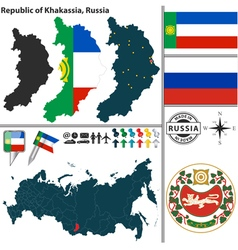Map of Republic of Khakassia vector image vector image