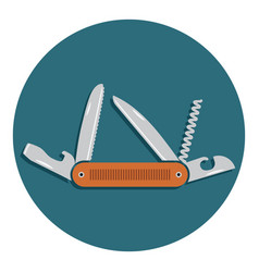 multifunctional pocket knife icon flat design of vector image vector image