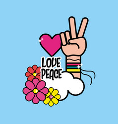 Nice hippie symbol with hand of peace and love vector