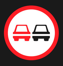 No overtaking prohibited sign flat icon vector
