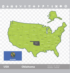 Oklahoma flag and map vector