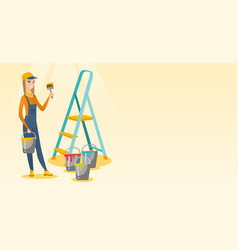 Painter with paint brush vector