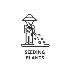 seeding plants line icon outline sign linear vector image