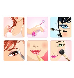 set of make-up square icons vector image